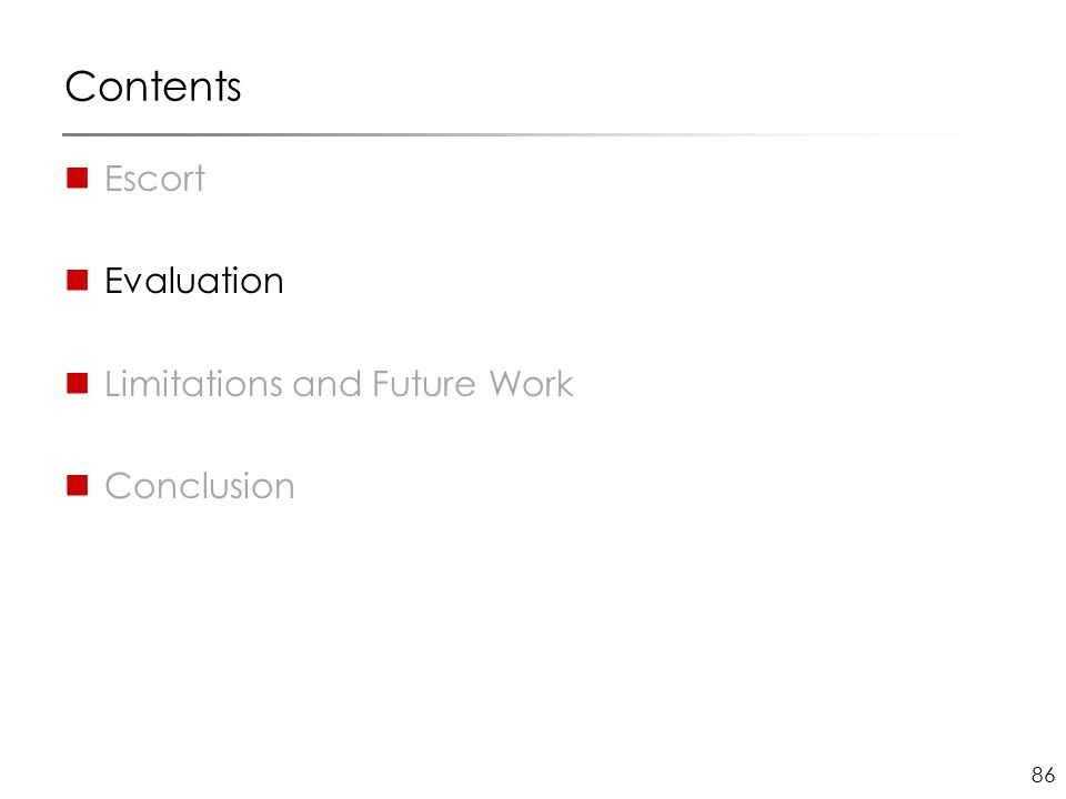 86 Contents Escort Evaluation Limitations and Future Work Conclusion
