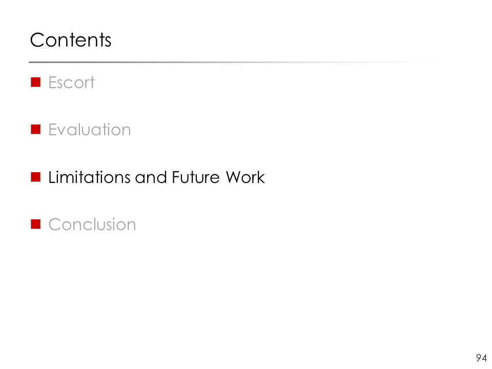 94 Contents Escort Evaluation Limitations and Future Work Conclusion