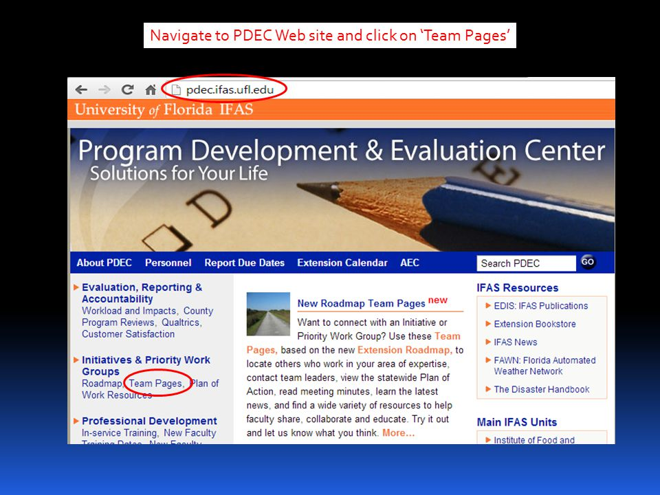 Navigate to PDEC Web site and click on 'Team Pages'