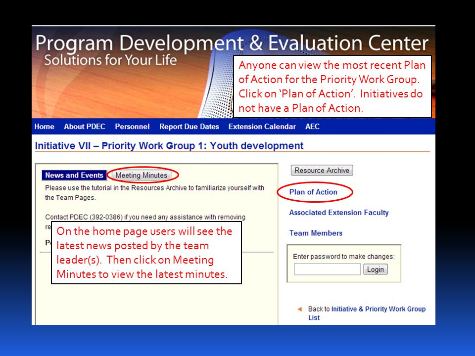 Anyone can view all faculty who are associated with a Priority Work Group by clicking on 'Associated Extension Faculty'.