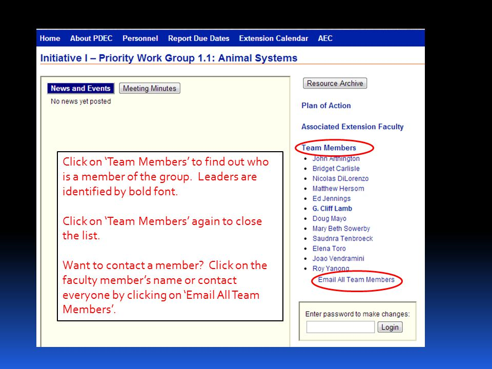 Click on 'Team Members' to find out who is a member of the group. Leaders are identified by bold font. Click on 'Team Members' again to close the list