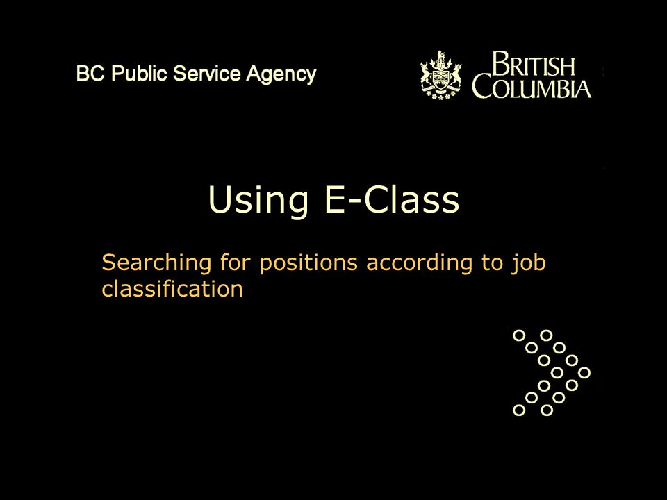 Using E-Class Searching for positions according to job classification