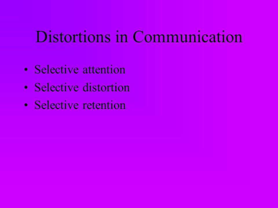 Distortions in Communication Selective attention Selective distortion Selective retention