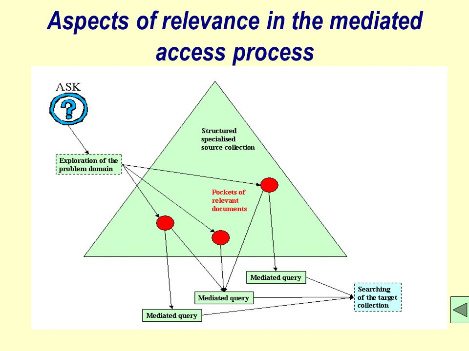 Aspects of relevance in the mediated access process
