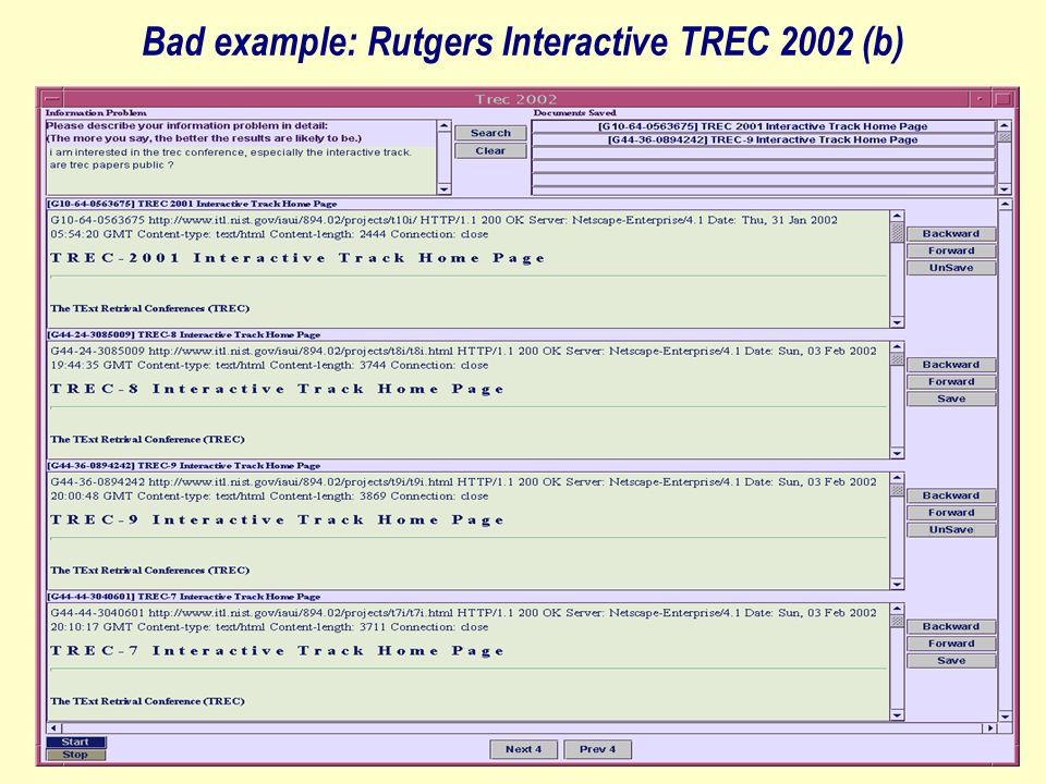 Bad example: Rutgers Interactive TREC 2002 (b)