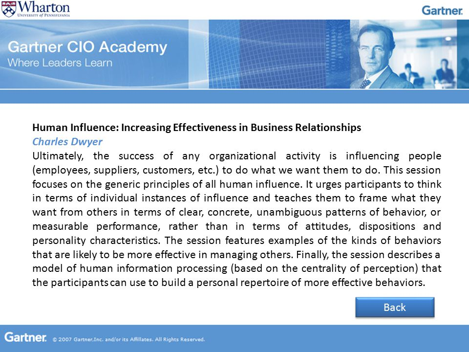 Human Influence: Increasing Effectiveness in Business Relationships Charles Dwyer Ultimately, the success of any organizational activity is influencing people (employees, suppliers, customers, etc.) to do what we want them to do.