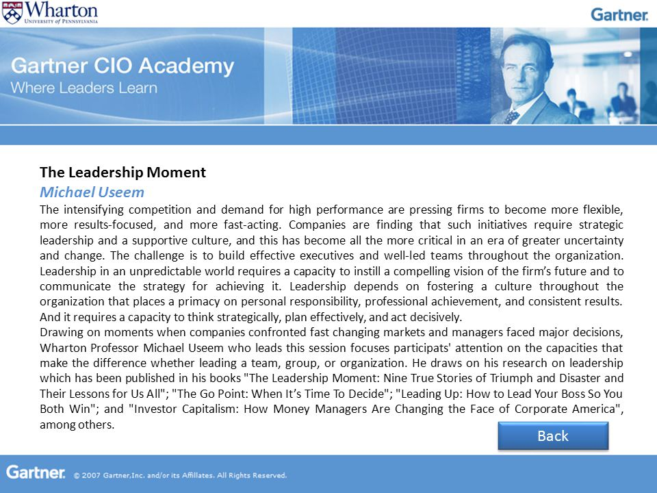 The Leadership Moment Michael Useem The intensifying competition and demand for high performance are pressing firms to become more flexible, more results-focused, and more fast-acting.