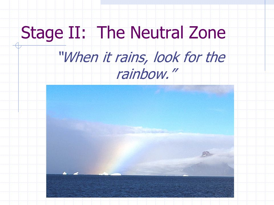 Stage II: The Neutral Zone When it rains, look for the rainbow.