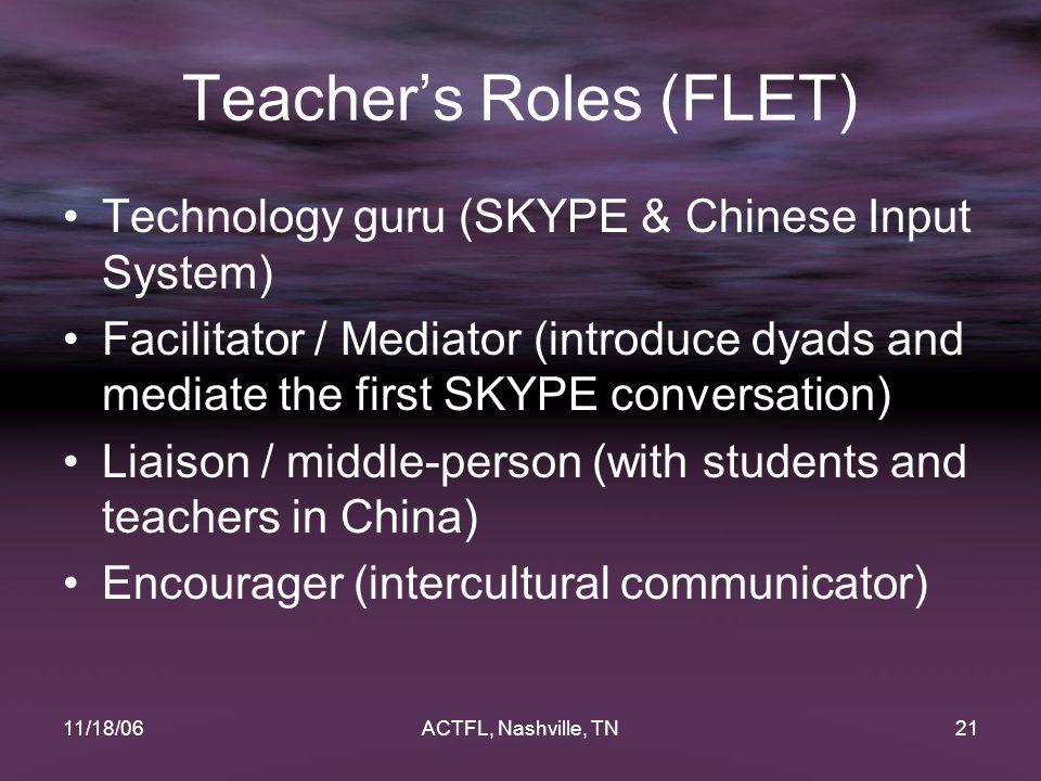 11/18/06ACTFL, Nashville, TN21 Teacher's Roles (FLET) Technology guru (SKYPE & Chinese Input System) Facilitator / Mediator (introduce dyads and media