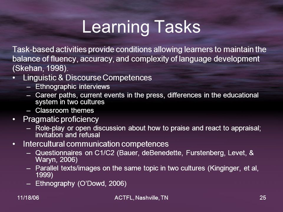 11/18/06ACTFL, Nashville, TN25 Learning Tasks Task-based activities provide conditions allowing learners to maintain the balance of fluency, accuracy, and complexity of language development (Skehan, 1998).