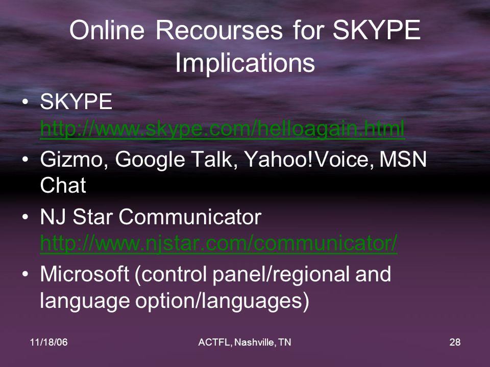 11/18/06ACTFL, Nashville, TN28 Online Recourses for SKYPE Implications SKYPE http://www.skype.com/helloagain.html http://www.skype.com/helloagain.html