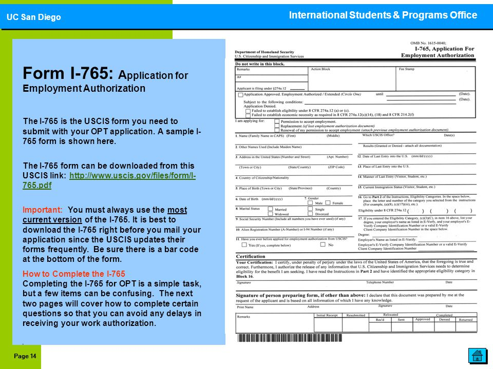 Form I-765: A pplication for Employment Authorization The I-765 is the USCIS form you need to submit with your OPT application. A sample I- 765 form i