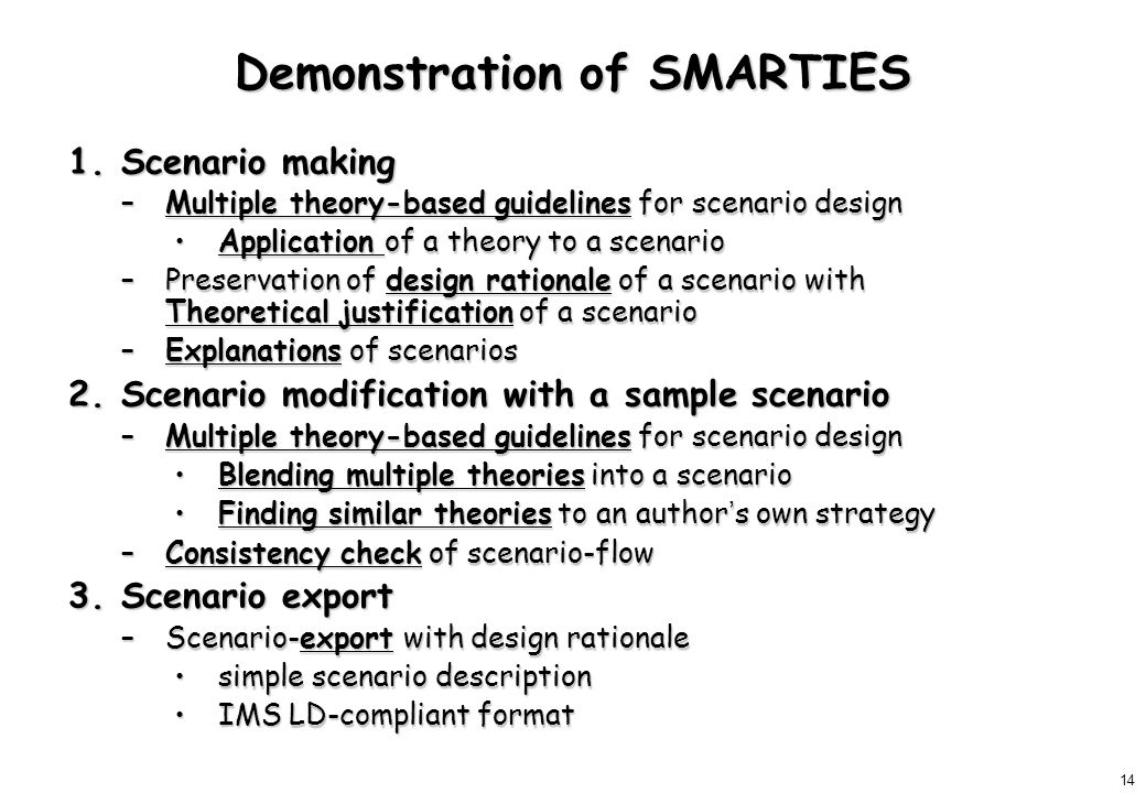 14 Demonstration of SMARTIES 1.Scenario making –Multiple theory-based guidelines for scenario design Application of a theory to a scenarioApplication of a theory to a scenario –Preservation of design rationale of a scenario with Theoretical justification of a scenario –Explanations of scenarios 2.Scenario modification with a sample scenario –Multiple theory-based guidelines for scenario design Blending multiple theories into a scenarioBlending multiple theories into a scenario Finding similar theories to an author ' s own strategyFinding similar theories to an author ' s own strategy –Consistency check of scenario-flow 3.Scenario export –Scenario-export with design rationale simple scenario descriptionsimple scenario description IMS LD-compliant formatIMS LD-compliant format