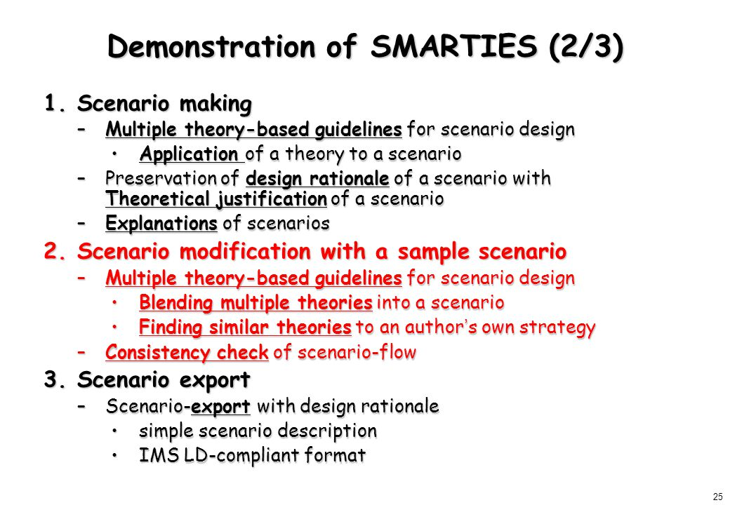 25 Demonstration of SMARTIES (2/3) 1.Scenario making –Multiple theory-based guidelines for scenario design Application of a theory to a scenarioApplication of a theory to a scenario –Preservation of design rationale of a scenario with Theoretical justification of a scenario –Explanations of scenarios 2.Scenario modification with a sample scenario –Multiple theory-based guidelines for scenario design Blending multiple theories into a scenarioBlending multiple theories into a scenario Finding similar theories to an author ' s own strategyFinding similar theories to an author ' s own strategy –Consistency check of scenario-flow 3.Scenario export –Scenario-export with design rationale simple scenario descriptionsimple scenario description IMS LD-compliant formatIMS LD-compliant format