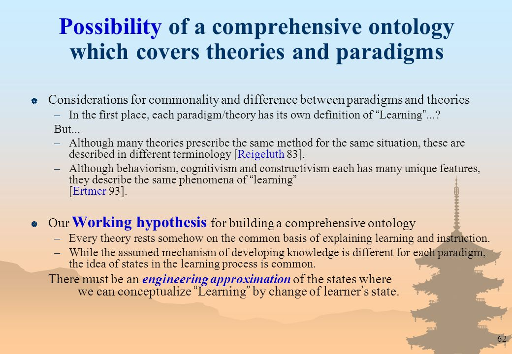 62 Possibility of a comprehensive ontology which covers theories and paradigms  Considerations for commonality and difference between paradigms and theories –In the first place, each paradigm/theory has its own definition of Learning ....