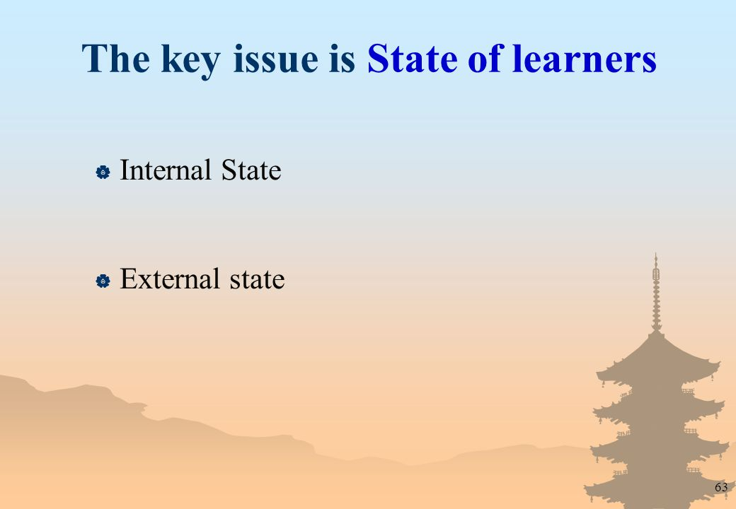 63 The key issue is State of learners  Internal State  External state
