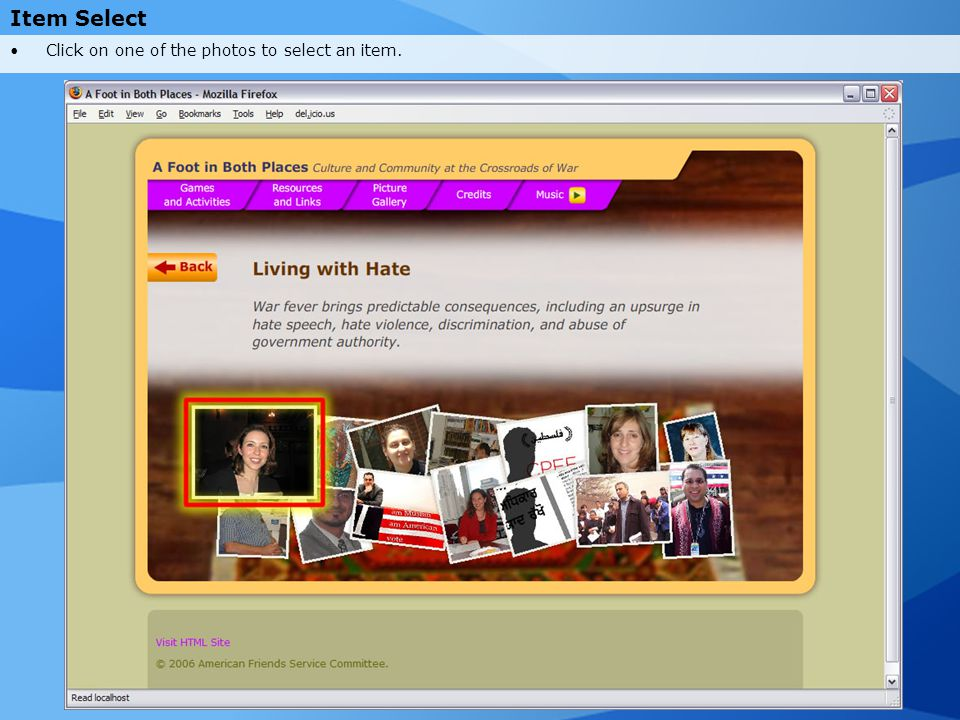 Item Select Click on one of the photos to select an item.