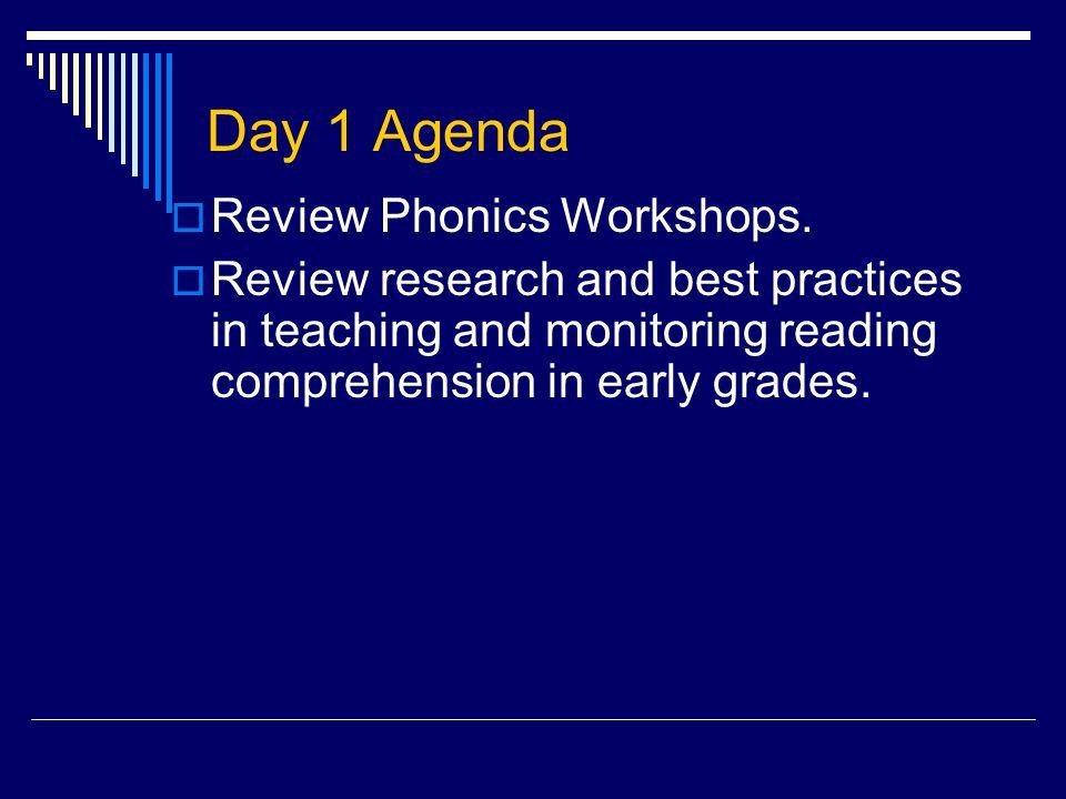 Day 1 Agenda  Review Phonics Workshops.