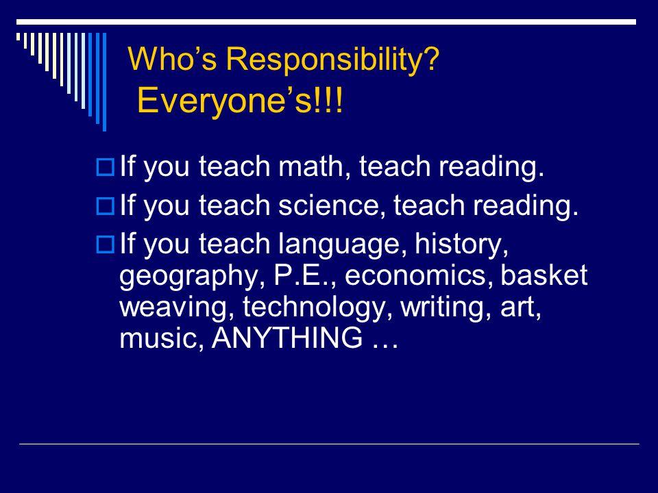 Who's Responsibility.Everyone's!!.  If you teach math, teach reading.