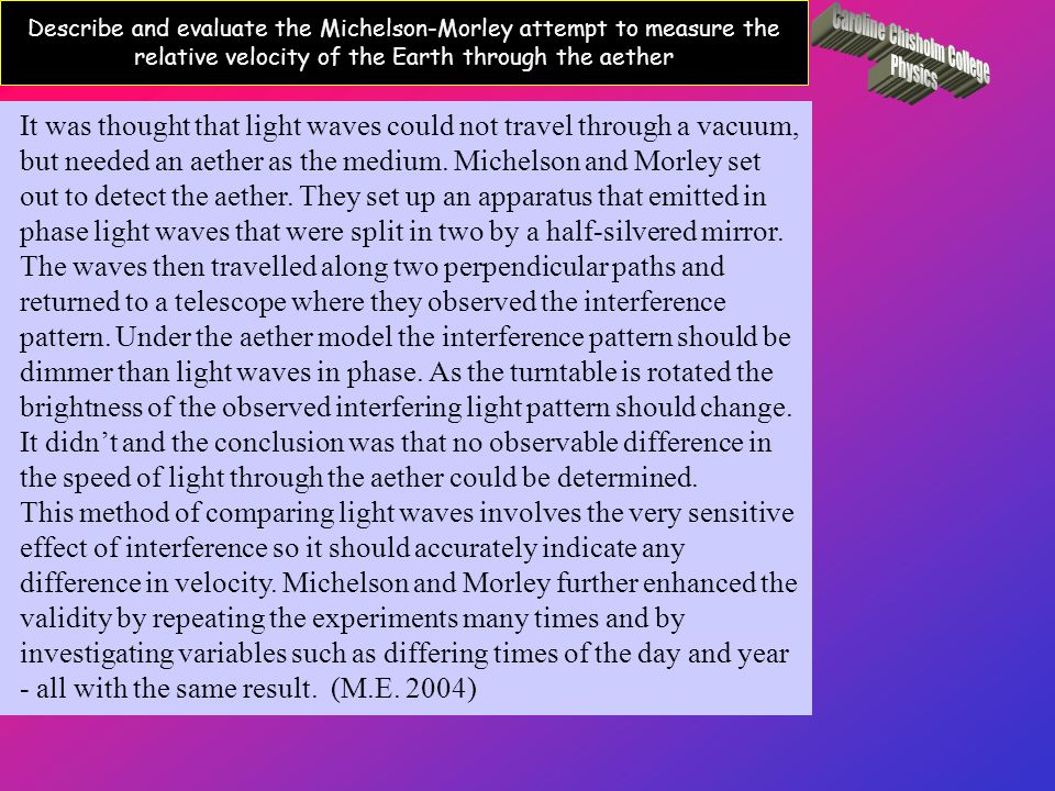 Describe and evaluate the Michelson-Morley attempt to measure the relative velocity of the Earth through the aether It was thought that light waves could not travel through a vacuum, but needed an aether as the medium.