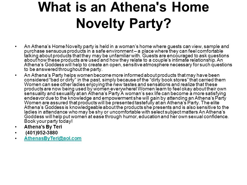 What is an Athena s Home Novelty Party.
