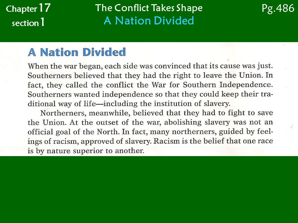 Chapter 17 section 1 The Conflict Takes Shape Strengths and Weaknesses Pg. 487