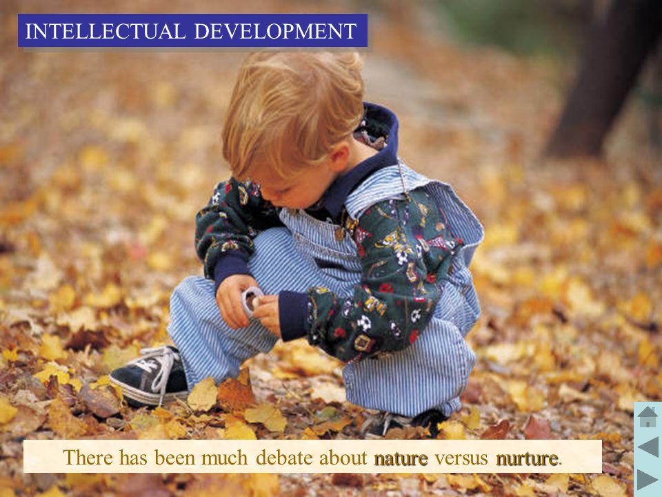 12 nature nurture There has been much debate about nature versus nurture. INTELLECTUAL DEVELOPMENT