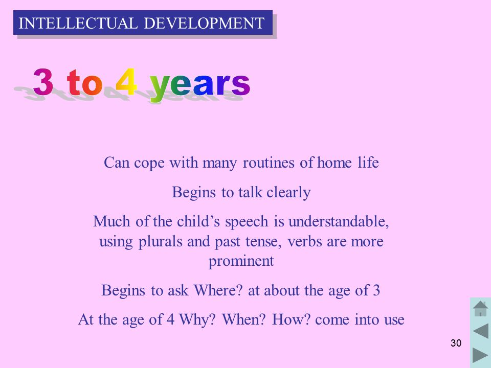 30 Can cope with many routines of home life Begins to talk clearly Much of the child's speech is understandable, using plurals and past tense, verbs are more prominent Begins to ask Where.