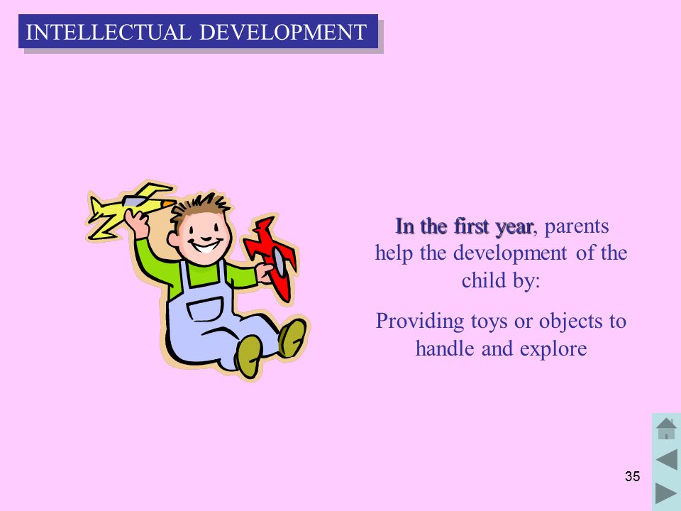 35 In the first year In the first year, parents help the development of the child by: Providing toys or objects to handle and explore INTELLECTUAL DEVELOPMENT