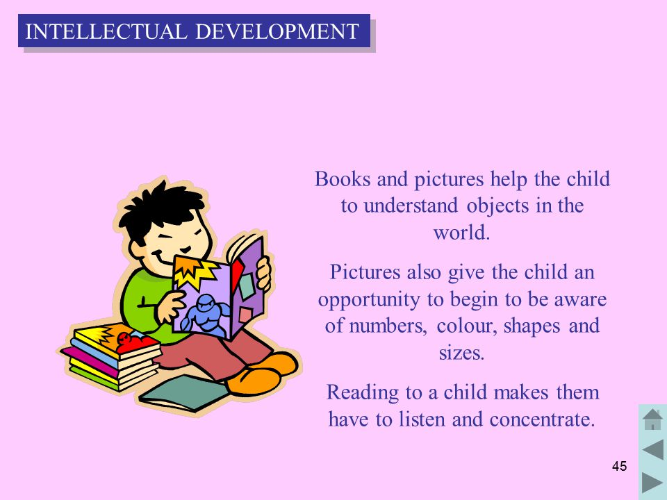 45 Books and pictures help the child to understand objects in the world.