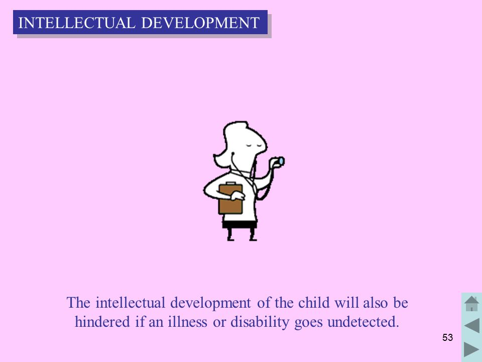 53 The intellectual development of the child will also be hindered if an illness or disability goes undetected.