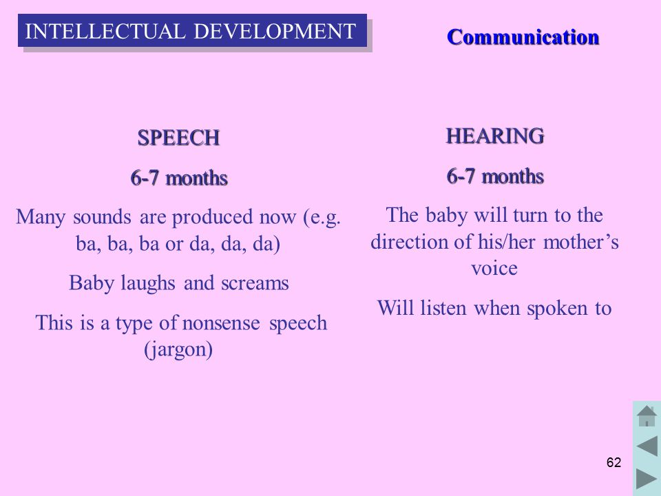 62 SPEECH 6-7 months Many sounds are produced now (e.g.