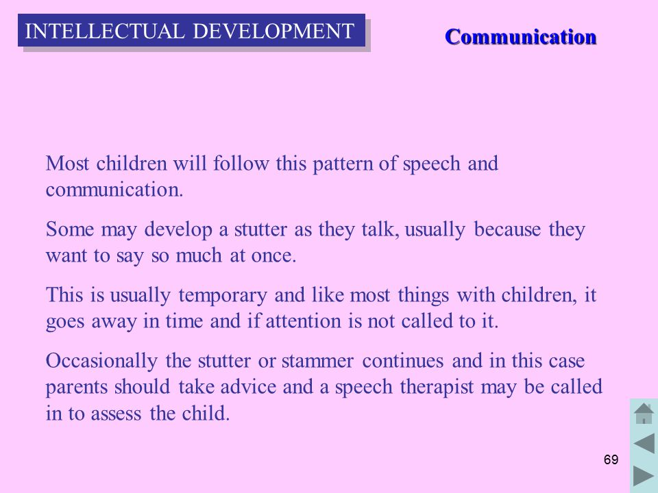 69 Most children will follow this pattern of speech and communication.