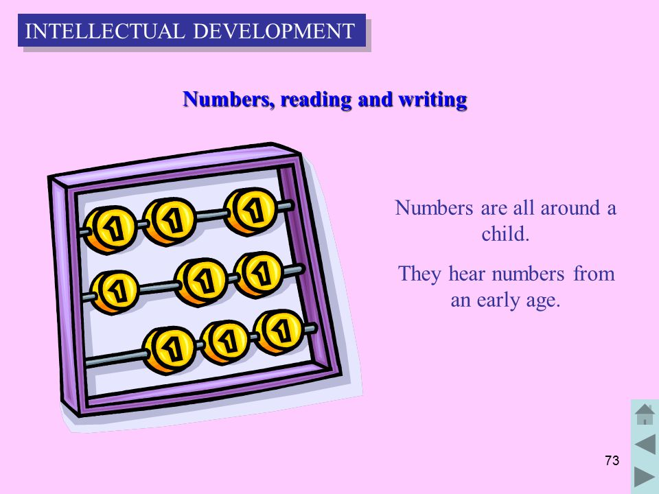73 Numbers, reading and writing Numbers, reading and writing Numbers are all around a child.