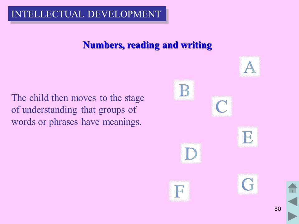 80 Numbers, reading and writing Numbers, reading and writing The child then moves to the stage of understanding that groups of words or phrases have meanings.