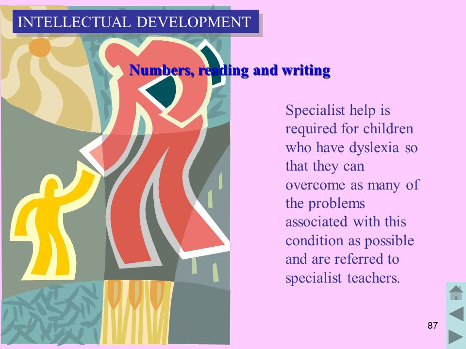 87 Numbers, reading and writing Numbers, reading and writing Specialist help is required for children who have dyslexia so that they can overcome as many of the problems associated with this condition as possible and are referred to specialist teachers.