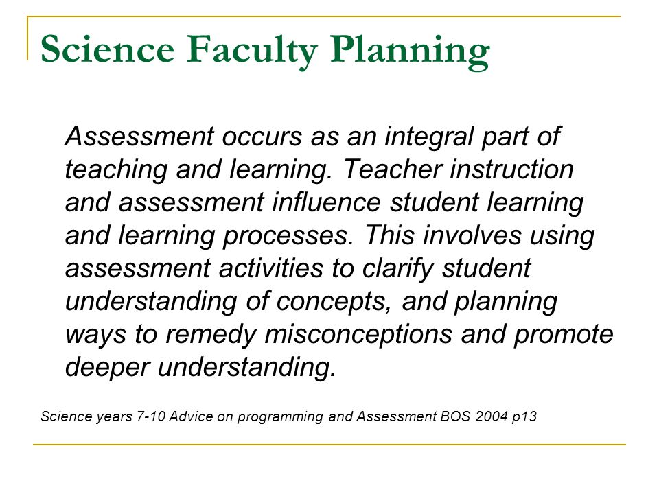 Science Faculty Planning Model for developing integrated assessment activities.