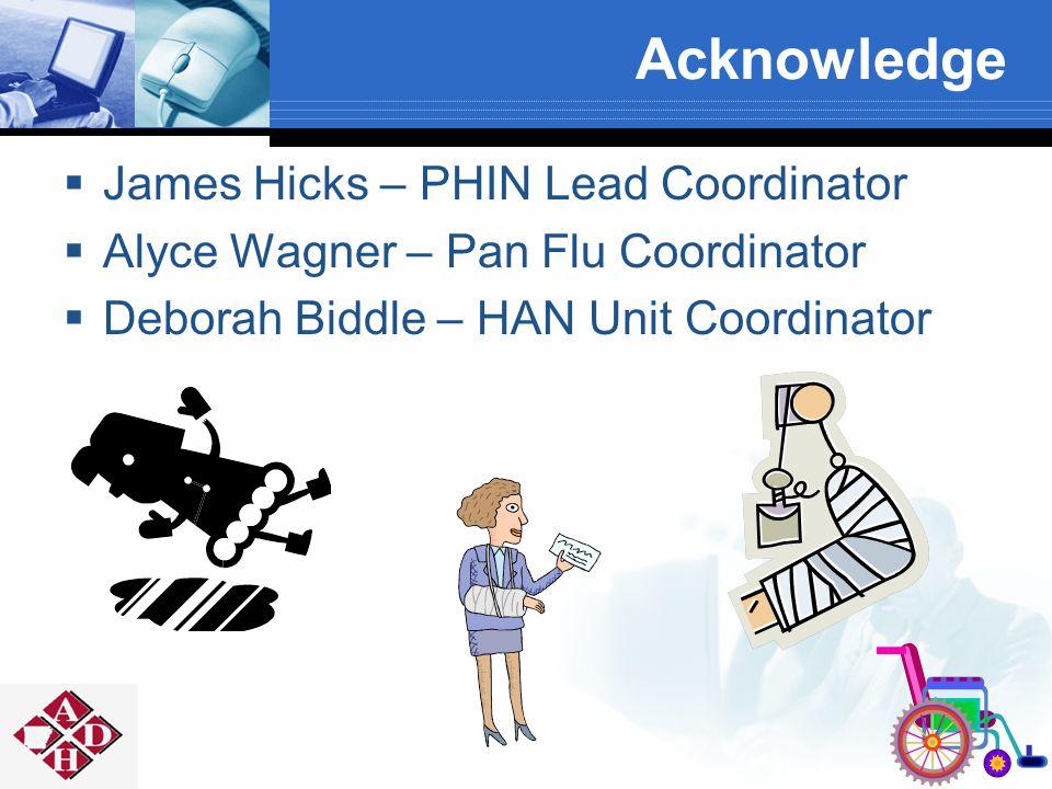 Acknowledge  James Hicks – PHIN Lead Coordinator  Alyce Wagner – Pan Flu Coordinator  Deborah Biddle – HAN Unit Coordinator