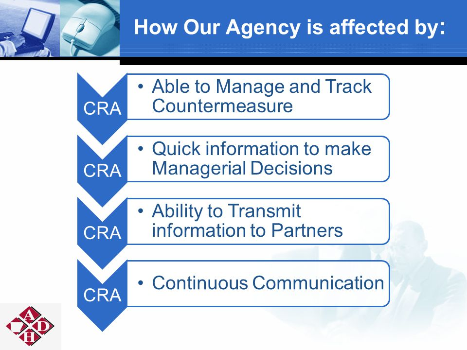 CRA Able to Manage and Track Countermeasure CRA Quick information to make Managerial Decisions CRA Ability to Transmit information to Partners CRA Continuous Communication How Our Agency is affected by :