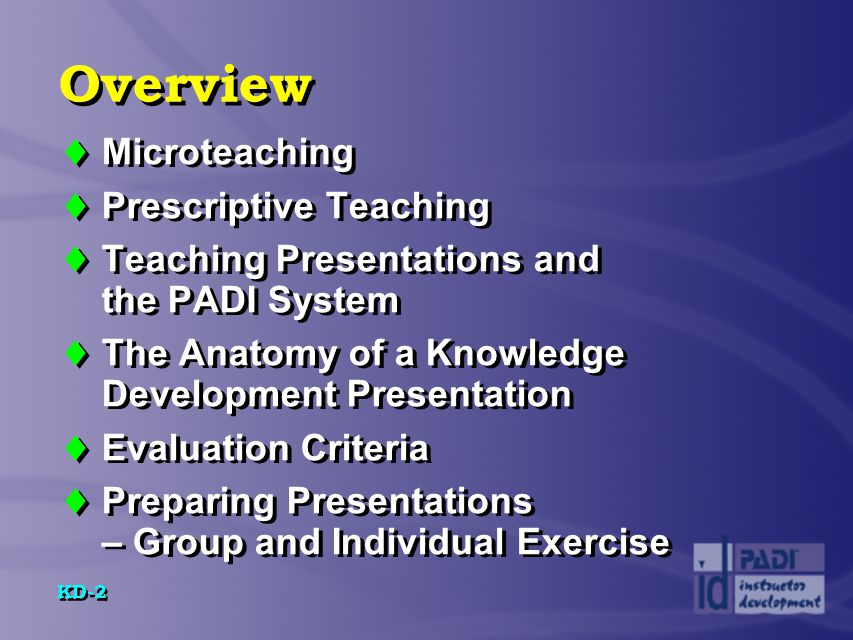KD-23 Anatomy of a Knowledge Development Presentation  Four parts of introduction...