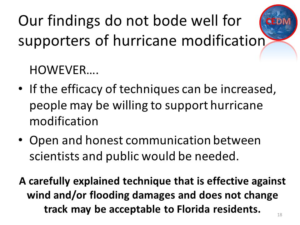 Our findings do not bode well for supporters of hurricane modification 18 HOWEVER….