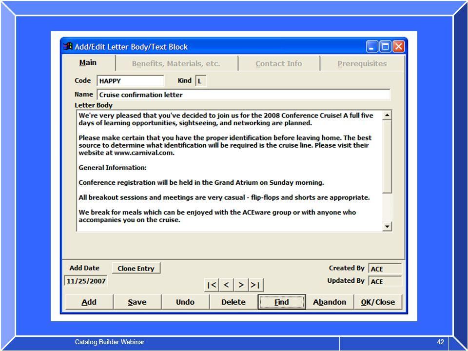 Catalog Builder Webinar 42