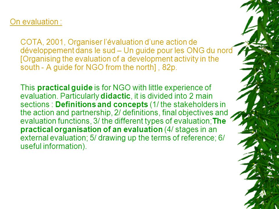 On monitoring Europact, 2002, Le suivi d'un projet de développement [Monitoring a development project], 84p.