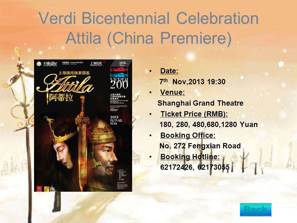 Noises Date: 25th Nov, 2013 14:00 Venue: Shanghai Drama Art Center Ticket Price (RMB): 150,300 Yuan Booking Office: No.