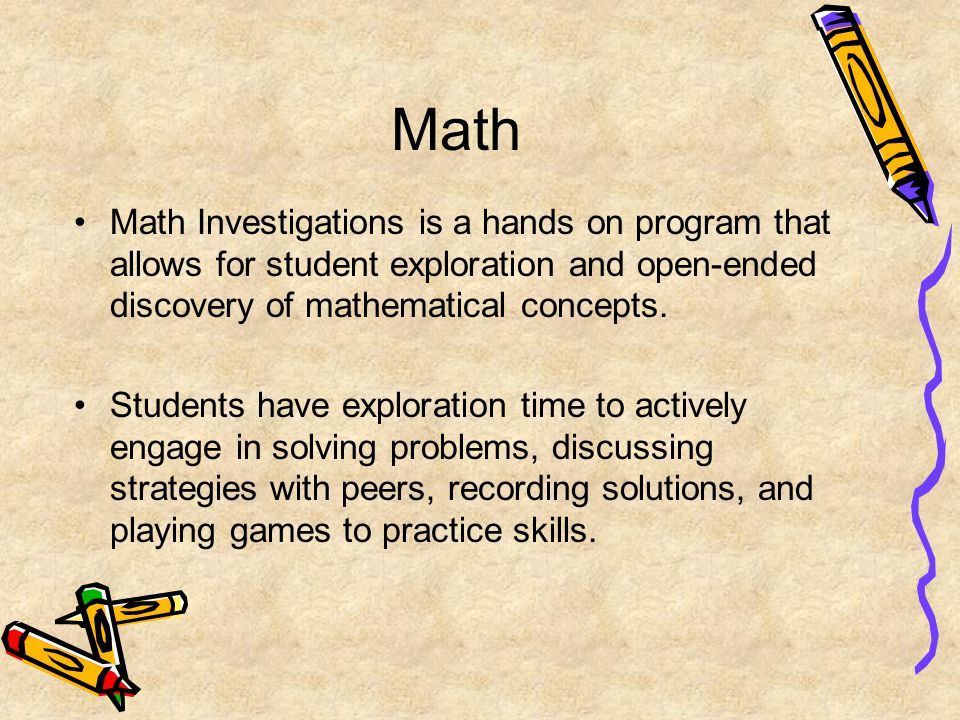 Math Math Investigations is a hands on program that allows for student exploration and open-ended discovery of mathematical concepts.