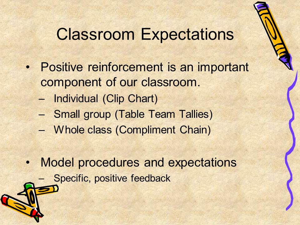 Classroom Expectations Positive reinforcement is an important component of our classroom. –Individual (Clip Chart) –Small group (Table Team Tallies) –