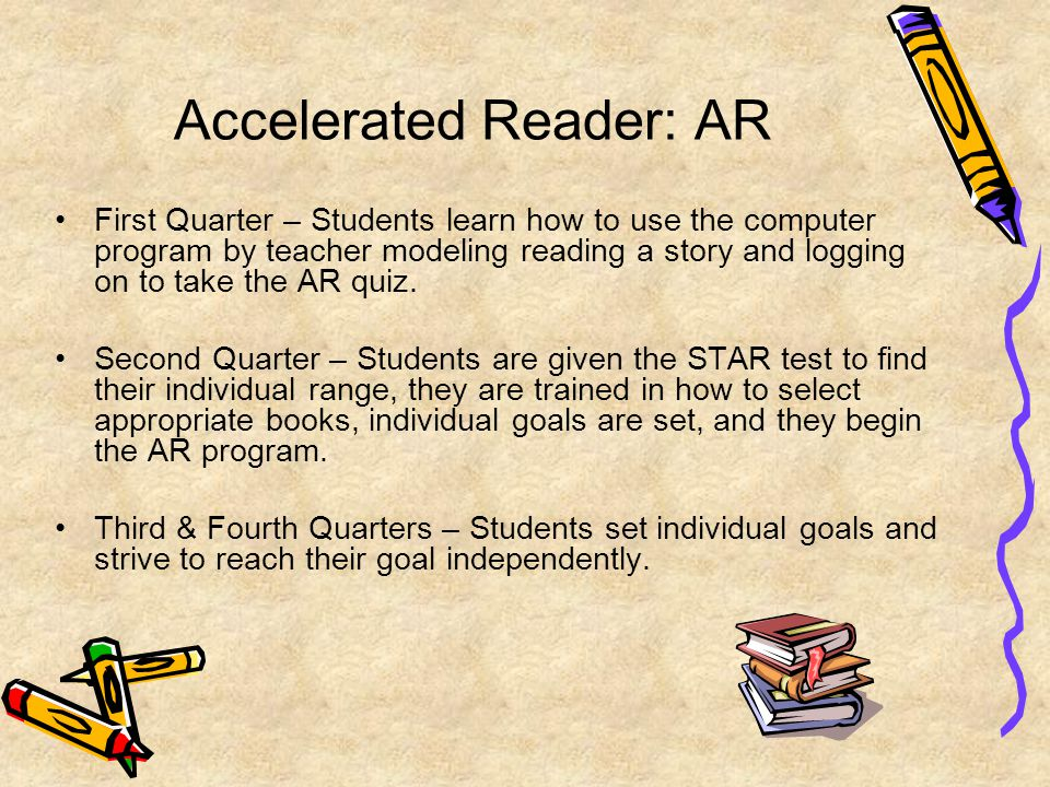 Accelerated Reader: AR First Quarter – Students learn how to use the computer program by teacher modeling reading a story and logging on to take the AR quiz.