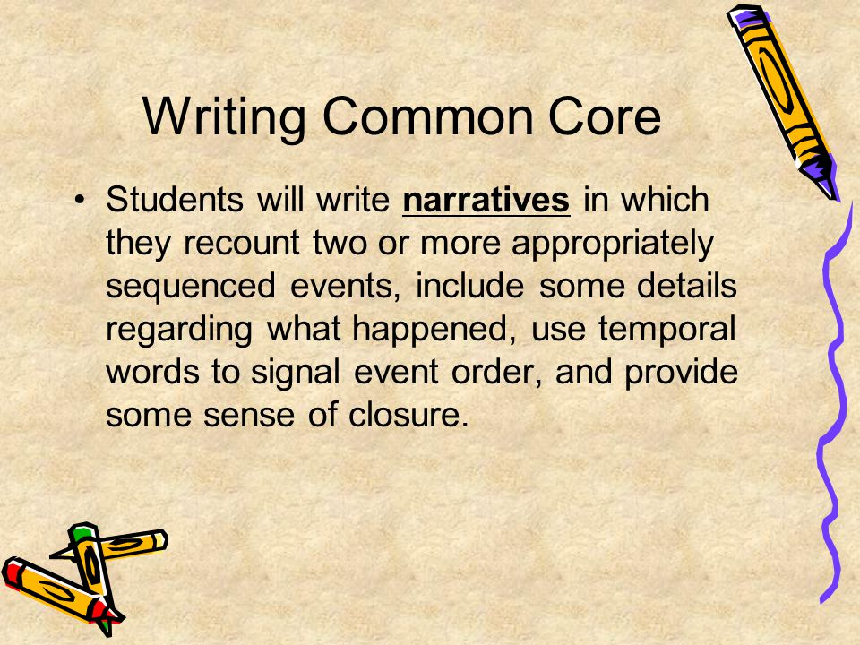 Writing Common Core Students will write narratives in which they recount two or more appropriately sequenced events, include some details regarding wh