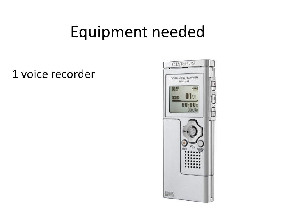 1 voice recorder Equipment needed