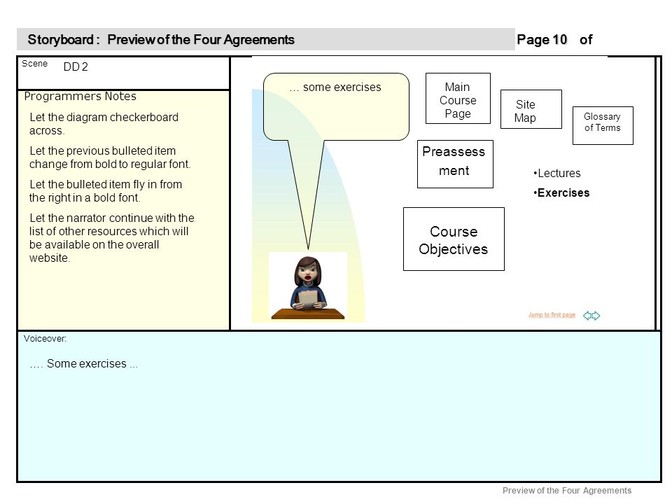 Programmers Notes Page of 10 10 Scene Voiceover: Storyboard : Preview of the Four Agreements Storyboard : Preview of the Four Agreements Preview of the Four Agreements DD 2 Let the diagram checkerboard across.